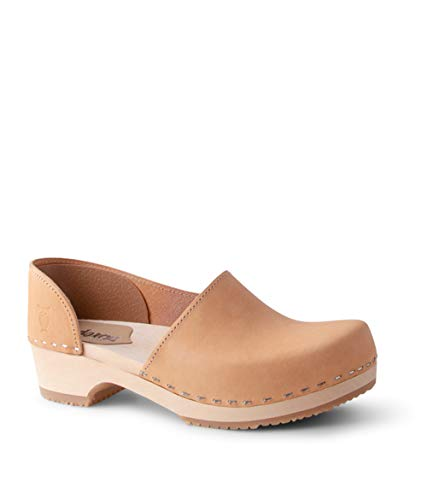 Sandgrens Swedish Low Heel Wooden Clogs for Women US 885 | Brett Low Nude Veg EU 39