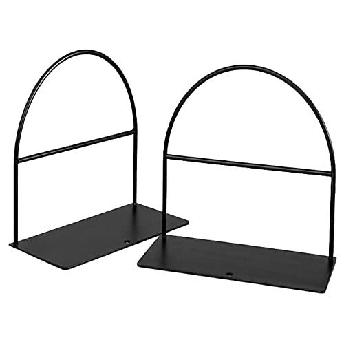 Extremos de libro simples negro 1 par de sujetalibros de hierro forjado soporte de libro escritorio oficina revista organizador soporte estante decorativo