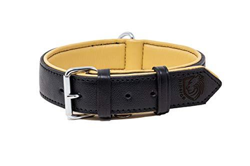 Riparo Collar de perro acolchado de cuero genuino Collar de mascota ajustable K-9 fuerte (L: 3,8cm de ancho para cuello de 45,7cm - 53,3cm, Negro)