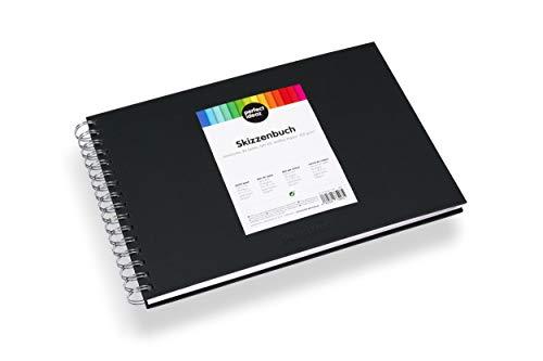 perfect ideaz DIN-A4 Skizzen-Buch 96 Seiten (48 Blatt), professioneller Zeichen-Block, Hard-Cover in schwarz, Spiral-Ring-Buch, blanko Papier in Weiß, 200g /qm, leeres Sketch & Black-Book zum Zeichnen