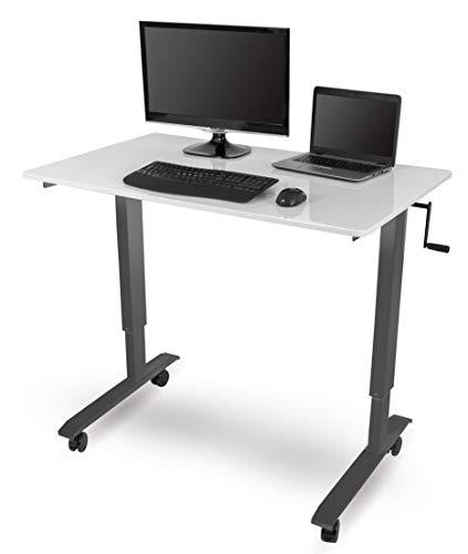 Stand Up Desk Store Höhenverstellbarer Schreibtisch (Rahmen anthrazit/Hochglanzdeckel weiß, Schreibtisch Länge: 120cm)