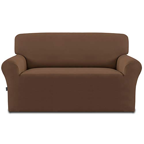Easy-Going Fleece Stretch Sofa Slipcover – Spandex Non-Slip Soft Couch Sofa Cover, Washable Furniture Protector with Anti-Skid Foam and Elastic Bottom for Kids, Pets(Loveseat,Brown)