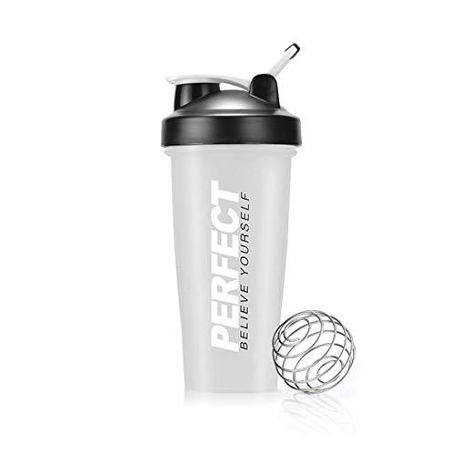 Shake Water Cup Protein Powder Cup Gym Shaker Waterfles Draagbare siliconen waterfles Plastic fles Sportklimmen, helder, 0,65 l