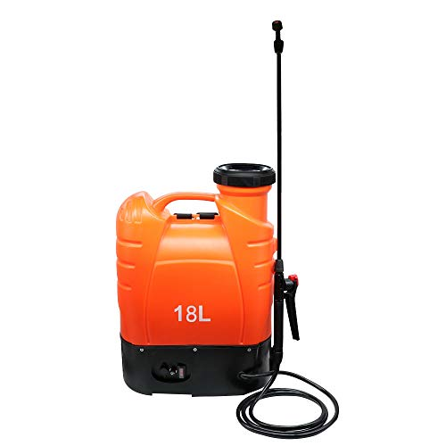 Beaugreen Battery Powered Backpack Sprayer Electric Weed Sprayer with Heavy Duty Pump for Garden Lawn Agriculture Spray (4.8 Gallon/ 18L-Orange)