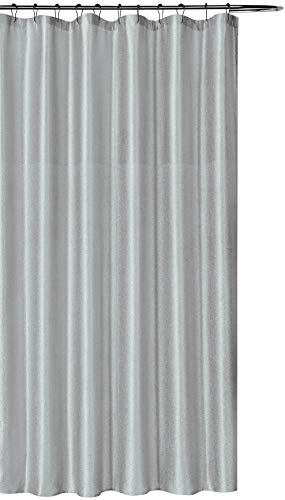 Luxury Grey Fabric Shower Curtain: Shimmering Textured Jacquard Cloth (Silver)