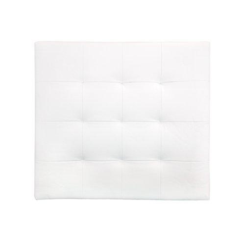 Decowood DCW05 Cabecero Pliegues, Cuero de imitación, Blanco, 90 x 80 x 3 cm