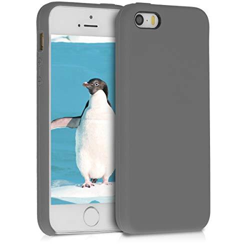 kwmobile Cover Compatibile con Apple iPhone SE (1.Gen 2016) / 5 / 5S - Custodia in Silicone TPU - Back Case Protezione Cellulare Grigio Metallizzato