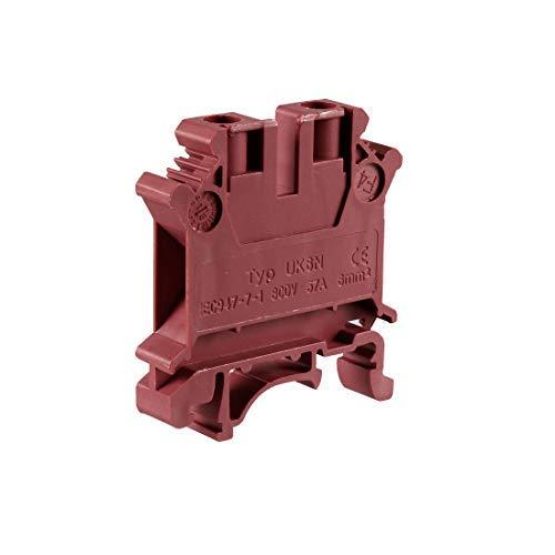 Rail DIN Bornier UK6N 800V 57A - Conector de pinza de tornillo (6 mm, 2 unidades), color rojo