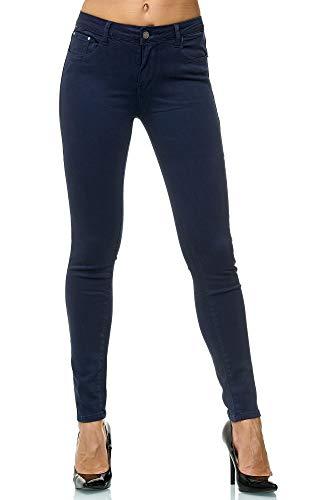 Elara Damen Stretch Hose Jeans Skinny Elastisch Chunkyrayan EL09-2-Dk-Blue 38 (M)