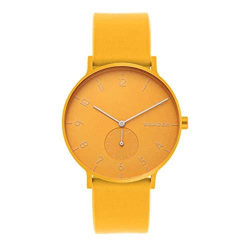 Skagen Men's Aaren Quartz Analog Stainless Steel and Silicone Watch, Color: Yellow (Model: SKW6510)