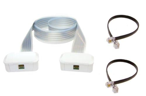Labs Wiretape C-400-03 - Pack para teléfono RJ11, 2 latiguillos, 2 conectores, cable 5 pistas, 3 metros