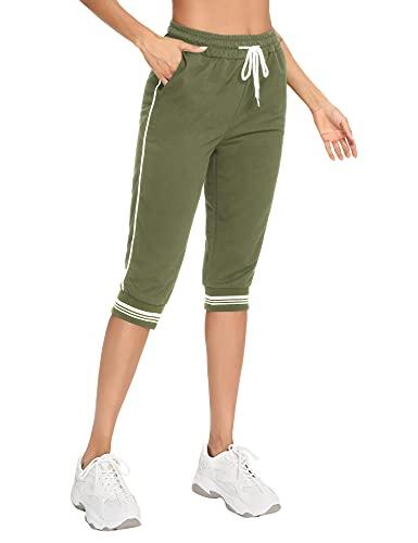 Irevial 3/4 Pantaloni Sportivi Donna in Cotone Pantaloni Corti Tuta con Tasca e Coulisse Estiva Pantaloncini Casual Larghi Vita Alta per Yoga Fitness Jogging, Running, Militare Verde, M