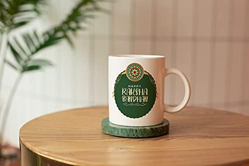 BM Sales Mug of Happy raksha bandan in Dark Green Colour Design on Mug capacity-325ml and Size(Hight-9.6 and length-11)