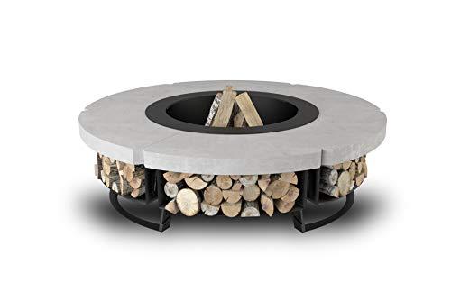 HETTA SUPPLY Round 155,Feuerstelle mit Grillrost, Multifunktional Fire Pit für Heizung/BBQ, Grill (Steel/Concrete)