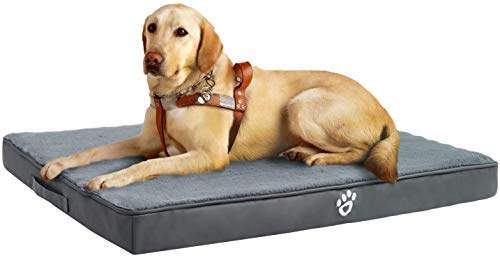 FRISTONE Large Dog Bed Memory Foam,Dog Crate Mattress With Removable Washable Cover,XXL,Grey