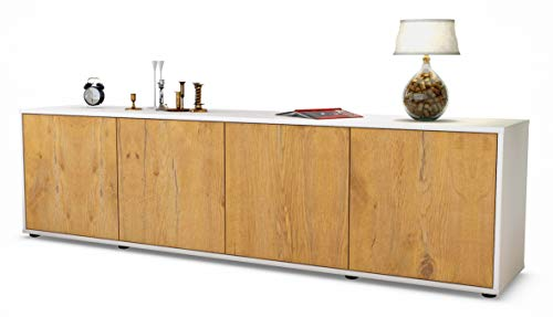 Stil.Zeit TV Schrank Lowboard Antonia, Korpus in Weiss matt/Front im Holz-Design Eiche (180x49x35cm), mit Push-to-Open Technik, Made in Germany