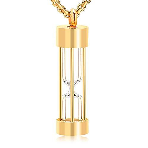 Memorial Asche Andenken Edelstahl Schmuck Transparente Sanduhr Urne Halskette Personalisiert Anhänger Kette für Unisex+ Trichter Füllen Kit,Gold