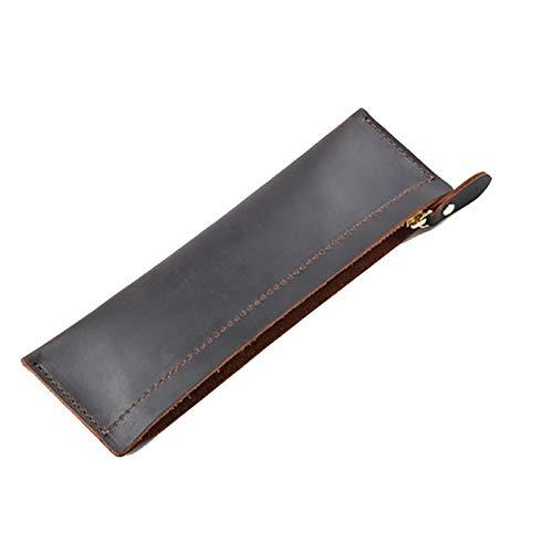 Bolígrafo de gran capacidad Caja de lápiz de cuero genuino multifunción Caja de pluma con cremallera Bolsa de papelería Bolsa de cremallera Bolsa de la cremallera Tenedor de lápiz Regalo del organizad
