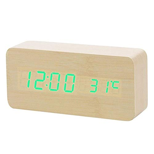Wekker LED Houten wekker Digitale Led licht tafelklok Wake Up Light Electronic Grote Tijd Temperatuur Display Luminous (Color : Bamboo green word, Size : Free)