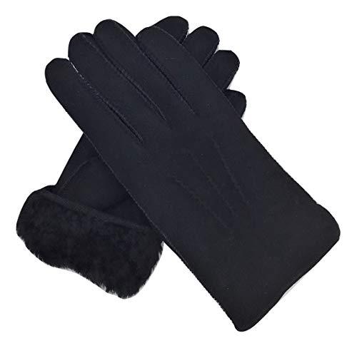 Lammfell Handschuhe aus reinem Merino Lammfell, Elegant genähte Lammfellhandschuhe, schwarz, Grösse 7,5
