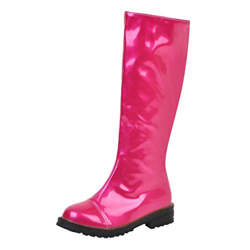 Yowablo Damen Stiefel Draussen Thermal Winter Warm Wasserdicht Mittelhoher Slip-On Kunstleder Mode Schuhe (36 EU,Pink)