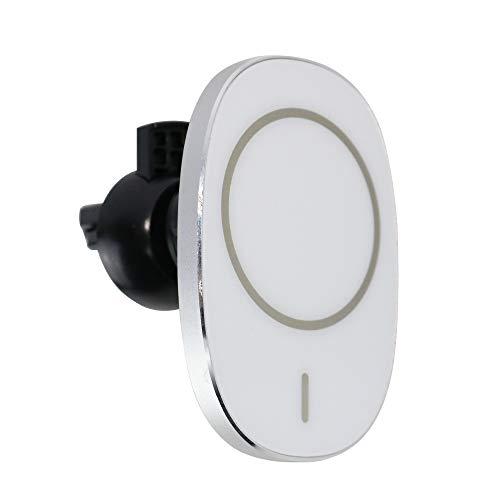 YONGYAO 15W Coche Soporte para Teléfono Inalámbrico Montaje Magnético Rápido Inteligente para Montaje de Ventilación de Aire Cargador Magnético Rápido Coche - Plata