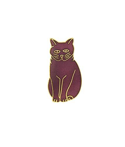 behave® Damen Brosche Katze aus Emaille - Burgunderrot - 3,5cm Größe