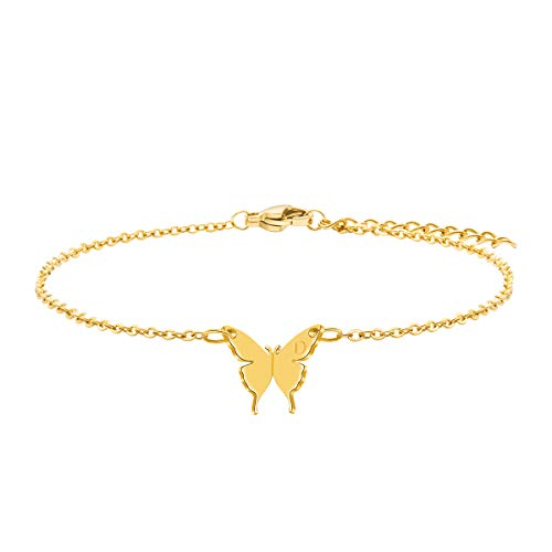 Joycuff Butterfly Anklet Dainty 18K Real Gold Ankle Jewelry Personalized Simple Initial Letter D Alphabet Engraved Handmade Boho Fashion Trendy Unique Beach Gifts Stainless Steel Anklets Bracelet