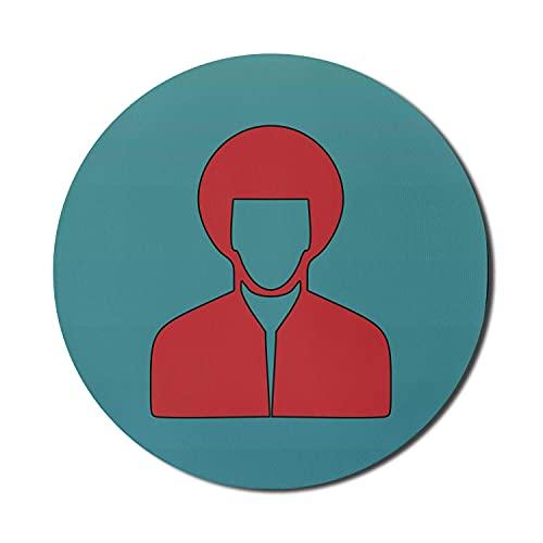 Vintage Dude Mouse Pad für Computer, warmes Farbmann-Silhouette-Porträt mit Haarschnitt und Hemd im Retro-Stil, rundes, rutschfestes, modernes Gaming-Mousepad aus dickem Gummi, 8 'rund, zinnoberrot un