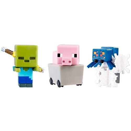 Minecraft End Stone Series 6 Maiale nel Carrello, Danno spettrale Zombi e Ragno delle caverne in ragnatele Mini Figura Confezione da 3