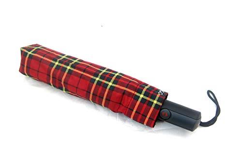 Ombrello Pieghevole H.DUE.O Antivento Chiusura ed Apertura Automatica Colore scozzese rosso copertura 130 centimetri