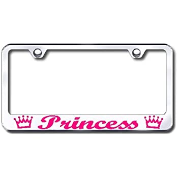 Princess Crown Chrome License Plate Frame 2 caps Included