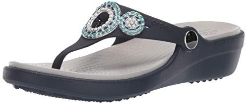 Crocs Women's Sanrah Diamante Wedge Flip Flop Sandal, navy/turquoise, 8 M US