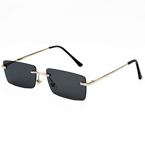 YIERJIU Sonnenbrillen Hip Hop Randlose Sonnenbrille Frauen Männer Mode Rechteckige Sonnenbrille Metall Sonnenbrille Streetwear Brillen,Black