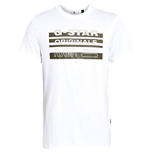 G-STAR RAW Mens Originals Stripe Logo T-Shirt, White 336-110, M