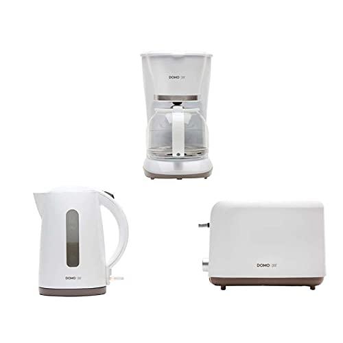 DOMO Kaffeemaschinenpackung 1,5L - Weier Wasserkocher 1,7L 2200W - Weier Toaster 830W