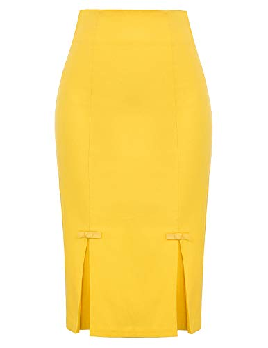 Plus Size Vintage Yellow Skirt Wear to Work Stretchy Office Pencil Skirt XXL BP587-8