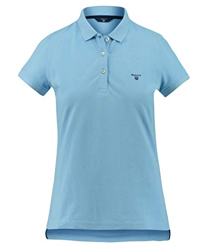 GANT Damen Poloshirt The Summer Pique Regular Fit Kurzarm Blue (82) XL