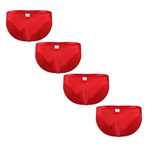 Xniral 4er Pack Slips Herren Unterhosen Männer Slip Unterwäsche Baumwollmischung Strings(Rot,L)