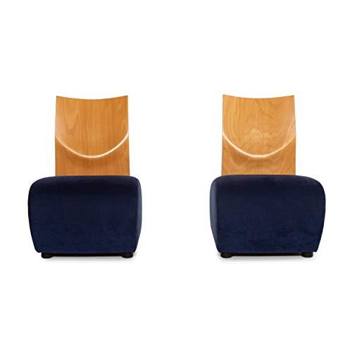 KFF Stoff Holz Sessel Blau 2X Stuhl #13671
