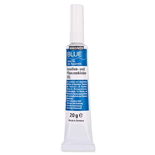 Wagner BLUE Pegamento de coral para plantas, gel de 20 g, para musgos y plantas en cualquier acuario de agua dulce, pegamento instantáneo, adhesivo para acuario, Aquascaping, muy duradero.