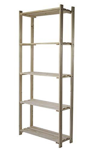 AVANTI TRENDSTORE - Shelf - Scaffale con 5 Ripiani, in Legno Massiccio di Pino e Abete Non trattato, Dimensioni Lap 75x180x30 cm (Legno Effetto brucciato) (Naturale)