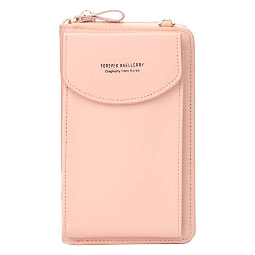 Tivollyff Fashion Leather Womens Crossbody Cell Phone Purse Holder Wallet Long Purse Credit Card Holder Organizer[Pink ]