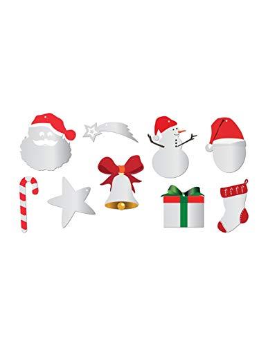 DECOLOOPIO - Mini specchio decorativo di Natale, da appendere o da incollare