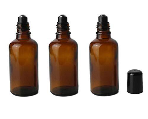 3 botellas de vidrio ámbar rellenables vacías de 50 ml con rodillo de aceite esencial y bola de acero inoxidable y tapa negra Attar botella para aceites esenciales, aromaterapia