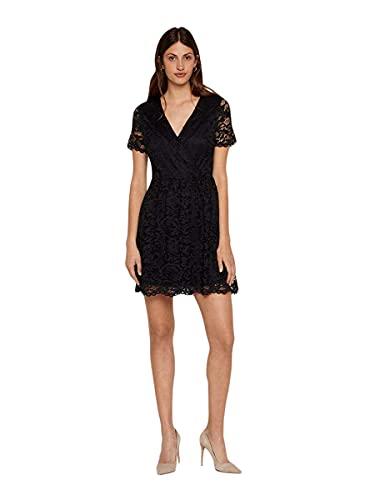 VERO MODA Damen VMDORA LACE SS Short Dress JRS Boo Partykleid, Schwarz (Black Black), 36 (Herstellergröße: S)