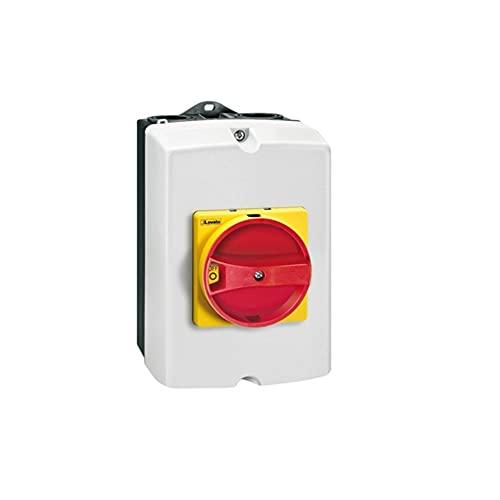 Interruptor tripolar, seccionador de cubierta no metálico en caja, 25A, con mando emergencia, 10,2 x 12,8 x 17,2 centímetros, color gris (Referencia: GAZ025)
