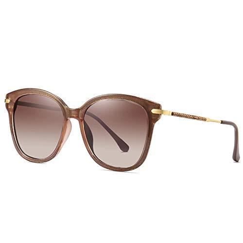Faus Koco Europa und Amerika Box Polarisierte Sonnenbrille Damen Fashion Trend UV400 Schutz eingelegter Kunststoff Diamant Gradient Linsenrahmen (Farbe: Braun)