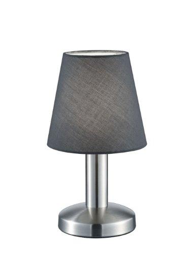 Trio Leuchten Tischleuchte in Nickel matt, Stoffschirm, grau 599600142
