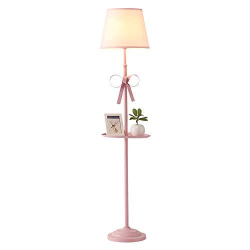 Staande lamp van ijzer staande leeslampen prinses meisjes verticale staande lampen slaapkamer kinderkamer creatieve woonkamer hoge voetlamp binnenverlichting (kleur: roze)